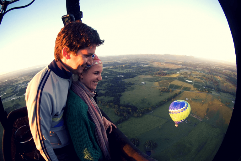 A couple on a hot air balloon flight