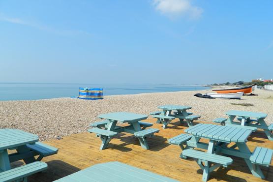 Aldwick Beach Cafe table on the beach
