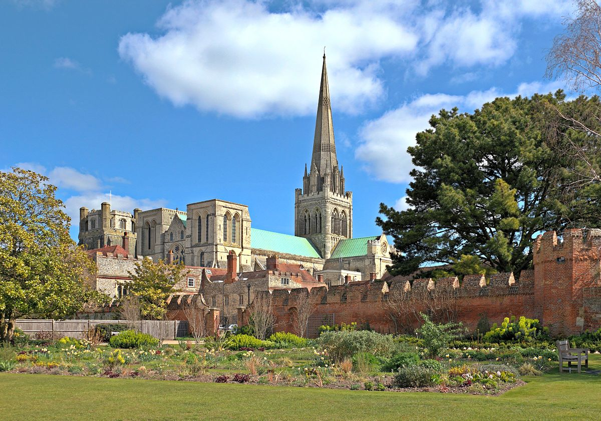 Chichester Cathedral pictured inside gardens