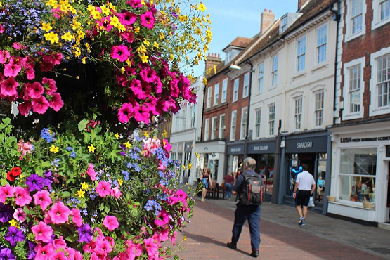 Chichester flowers and high street, West Sussex