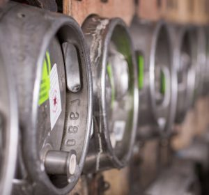 A row of beer kegs at The Dark Star Brewery