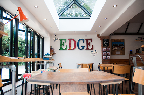 A table at the Edge Café at Edgcumbes Roastery