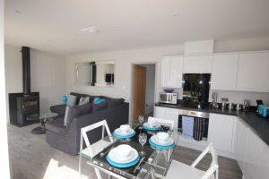 Kitchen and living area of Flinstone Cottage