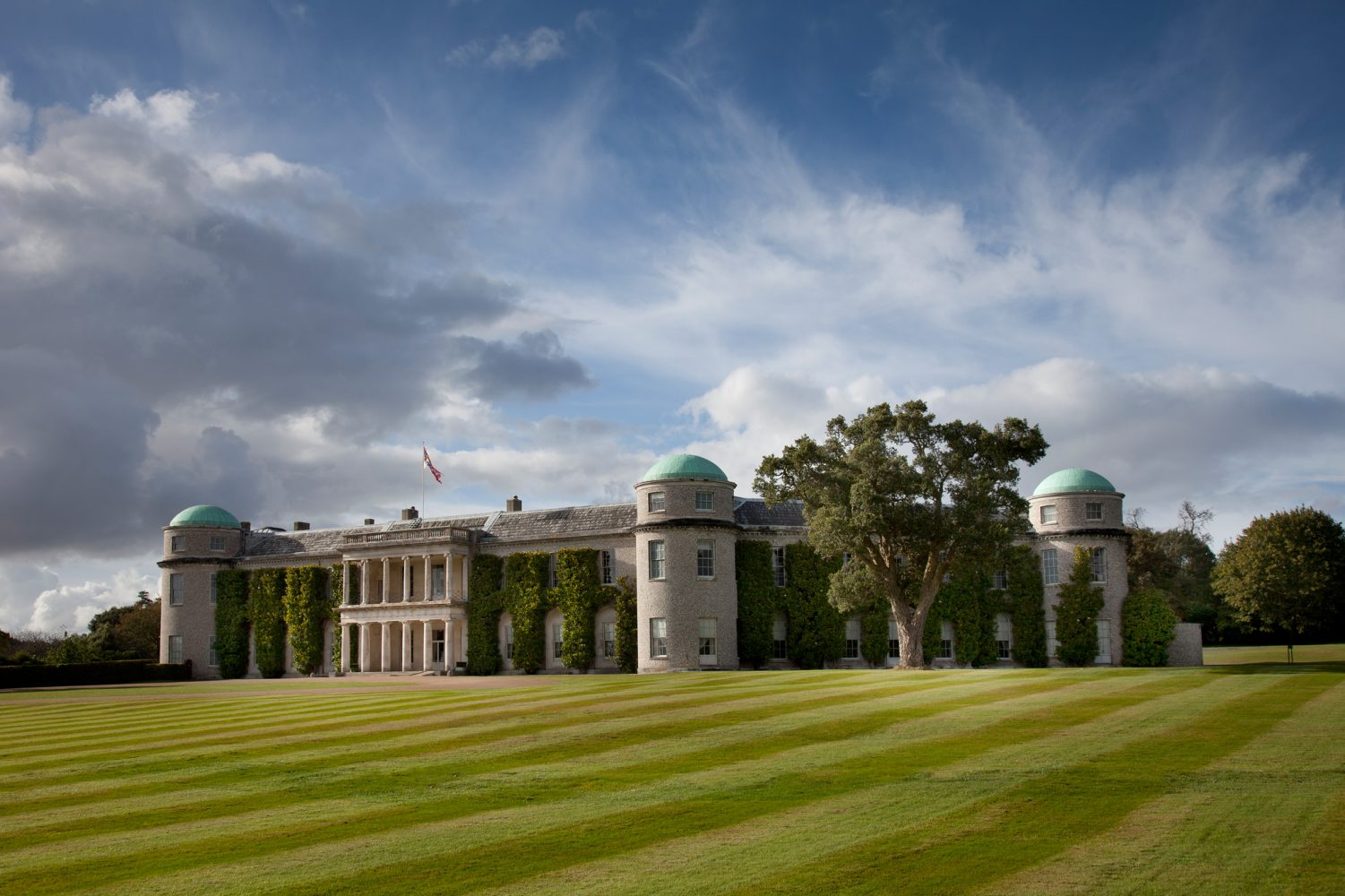 Goodwood House on a cloudy day
