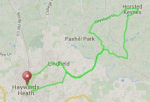 Map of Haywards Heath route