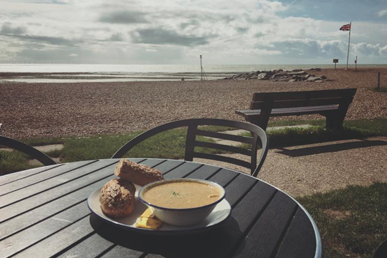 Fresh soup and bread on an outdoor table at the Sea Lane Cafe