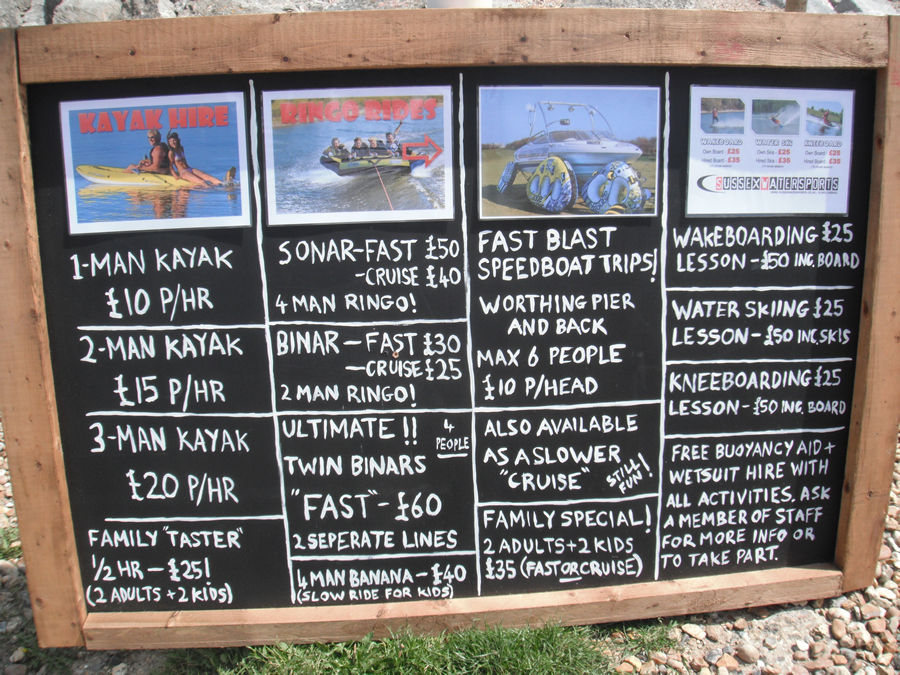 Sussex Water Sports list of lessons