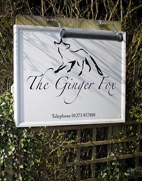 The Ginger Fox Restaurant sign in Sussex