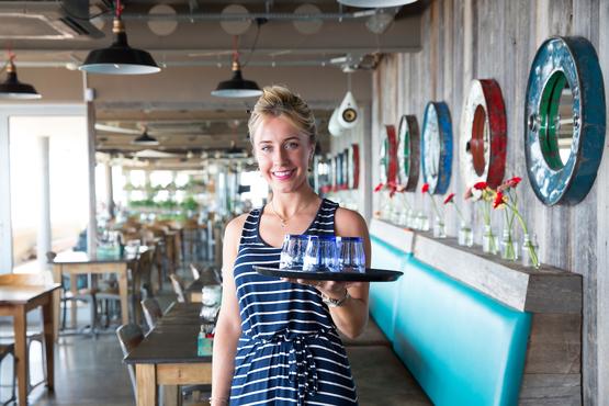 Waitress at the Perch on Lancing Beach