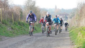 A group of cyclists on a guided ride