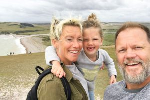 Family selfie on the windy South Downs