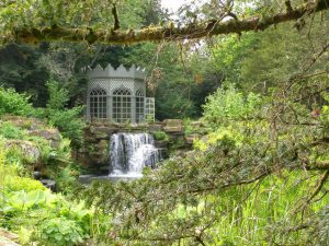 Woodland waterfall at Woolbedding Gardens