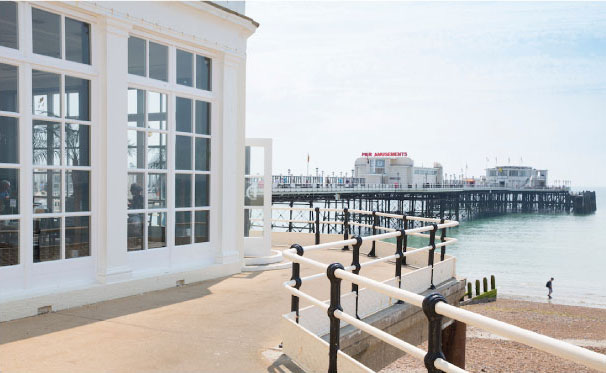 Worthing Pier on the beach