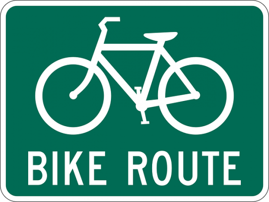 Travel safety bike route sign