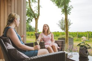 Friends enjoying a glass of fizz at Tinwood Lodges