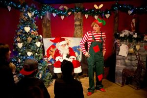 Santa and elf at Tulleys Christmas Experience