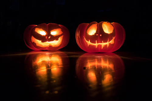 Pumpkins carved and lit with candle