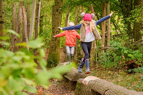 Two children balancing on logs and exploring Wakehurst