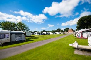 Caravans and tents at Nunnington Farm campsite