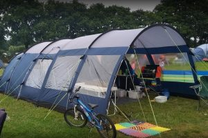 A large family dome tent set up at Blacklands Farm campsite in Sussex