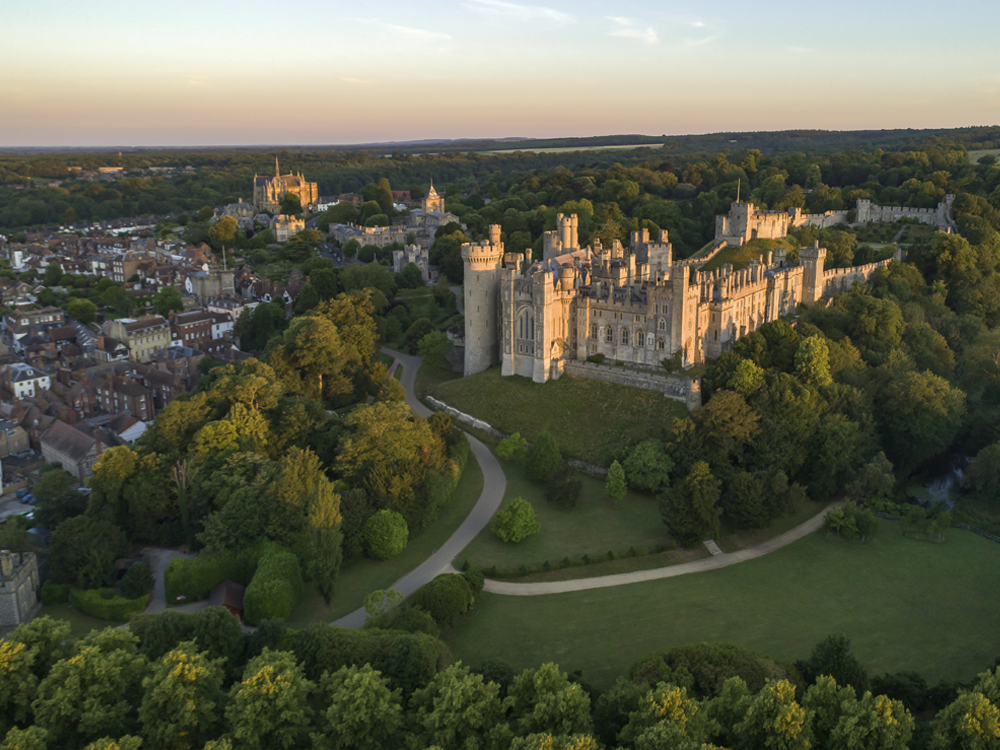 Drone image of Arundel Castle
