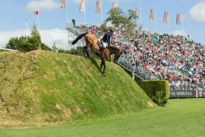A horse jumping at the Hickstead International Showjumping