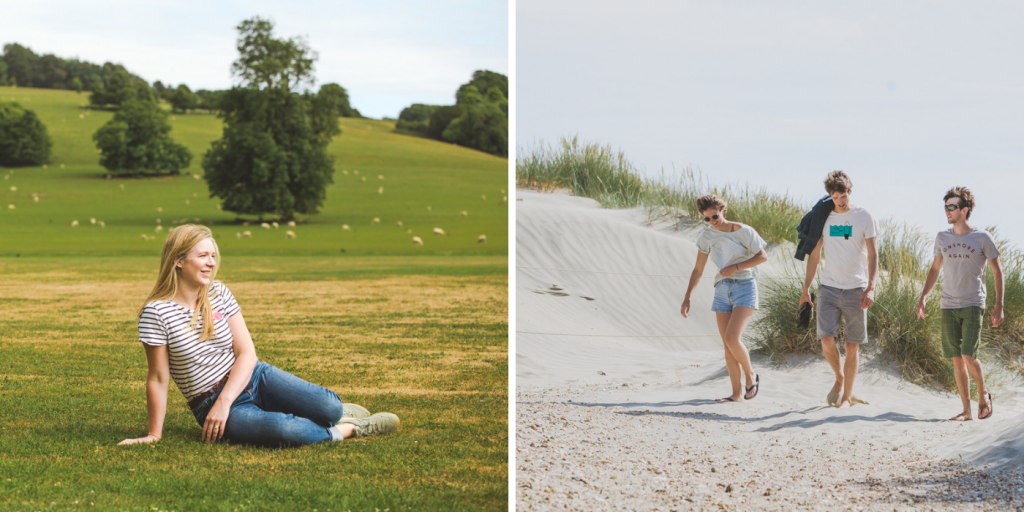 L: Surrounding countryside at the Drovers Estate. R: Sand dunes at East Head