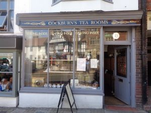 Front of a Cockburn's Tearooms a traditional tea room and confectioners in Midhurst