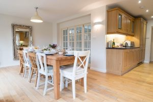 Beautiful spacious dining room and kitchen at luxury accommodation, Cornerstones Birdham in Chichester