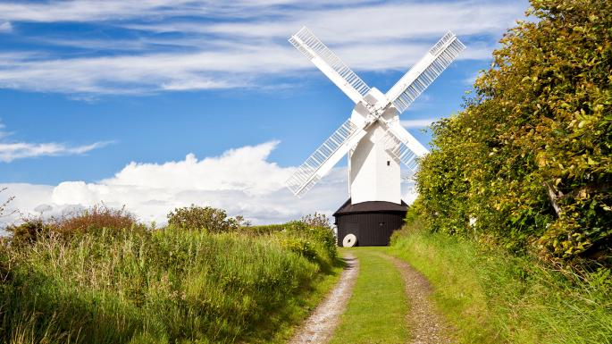 Pathway leading up to the white 'Jill' windmill, one of two windmills in Sussex making up the Jack and Jill Windmills