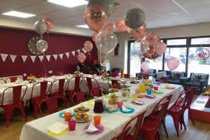 Cjs Cafe with tables set up for a birthday party