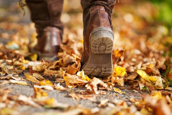 feet and boots walking in autumn leaves