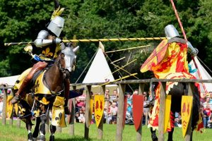 Loxwood Jousters in action on two horses