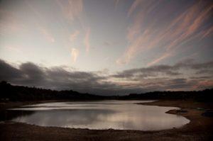 Ardingly Reservoir and skyscape at dusk