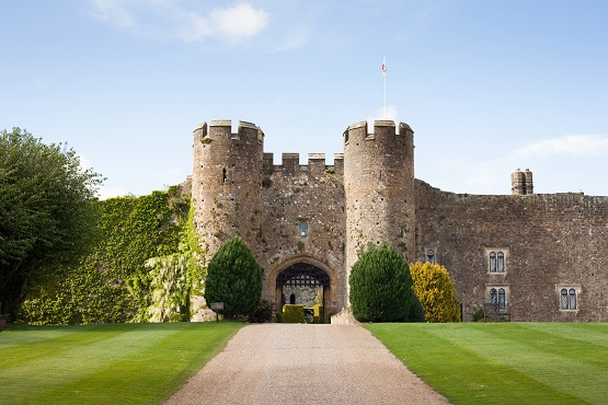 Amberley Castle Hotel, main gate and gardens