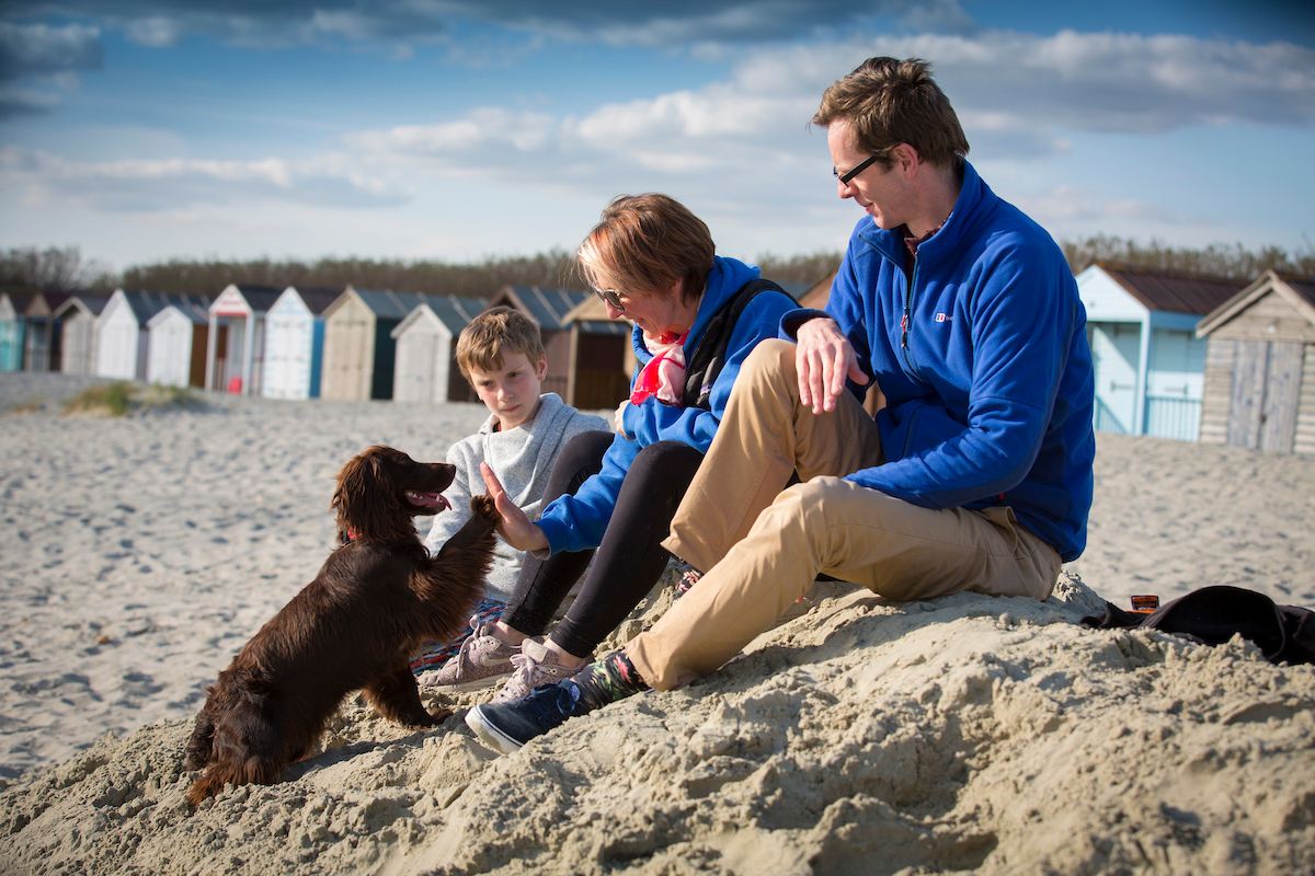 A family and dog on the sandy beach in West Sussex