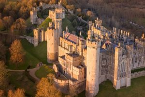 Arundel Castle in the evening sun, taken from the sky