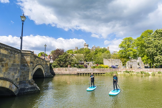 Two paddle boarders on River Adur