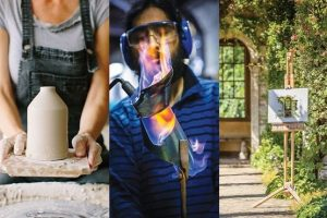 Pottery, welding and painting short courses photo collage