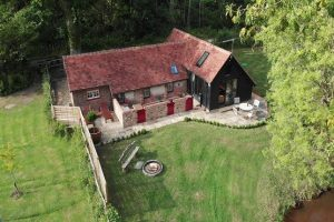 Drone image of The Piggery at John Bulls farm house in Cowfold