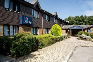 Outside building and parking at Travelodge Emsworth