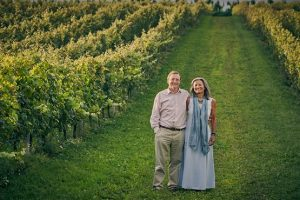 Harry and Pip Goring, owners of Wiston Estate photographed in vineyard