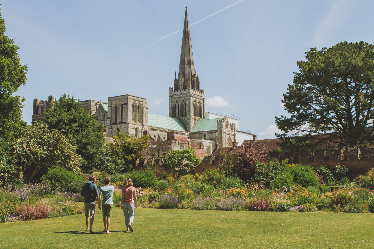 Landscape photo of Bishop's Palace Gardens with Chichester Cathedral in the background