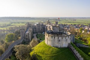 Drone image of Arundel Castle on a sunny day