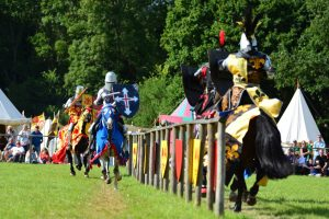 Mediaeval jousting with actors in armour