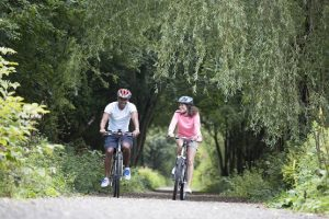 Two cyclists cycling through a woodland path
