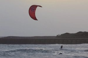 Kitesurfer in the sea at Littlehampton