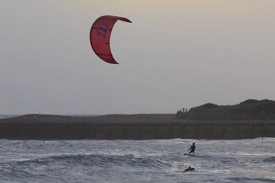 Kitesurfer in the sea at Littlehampton