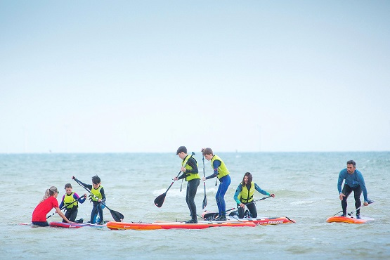 Stand up paddleboarders in the water