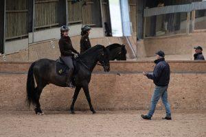 A horse riding lesson inside a barn